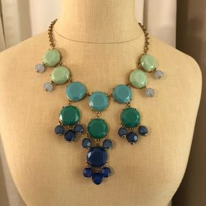 Gold shades of blue bubble necklace